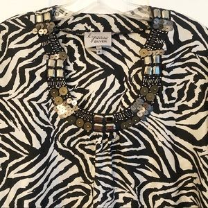 Lynn Ritchie Zebra Silk Beaded Tunic M